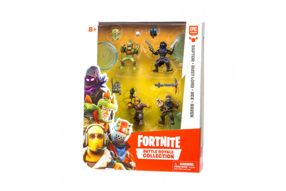 Набор фигурок Fortnite Battle Royale Collection (Raptor, Rust Lord, Rex, Raven) 5см