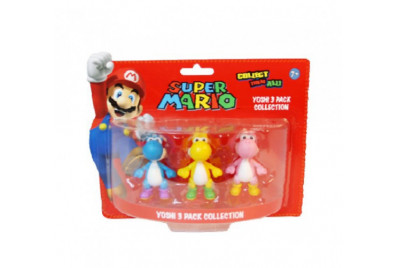 Набор фигурок Super Mario: Yoshi - Динозаврик Ёши синий, желтый, розовый  3 в 1 (5 см) коробка
