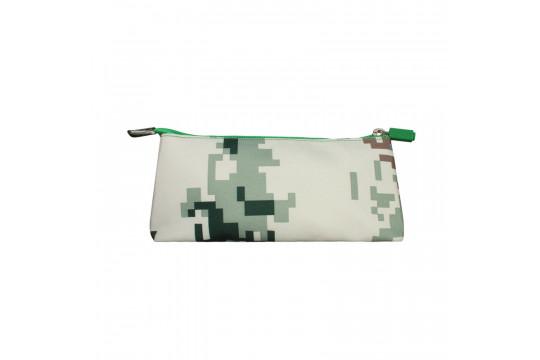 Пенал для школьника пиксельный в ярких красках Зеленый хаки