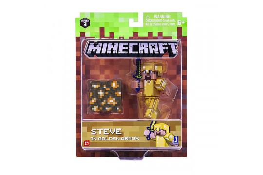 """Фигурка Minecraft """"Стив в золотой броне"""" Steve in Gold Armor (Jazwares)"""