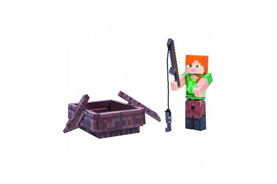 """Фигурка Minecraft """"Алекс на лодке"""" Alex with Boat  (Jazwares)"""