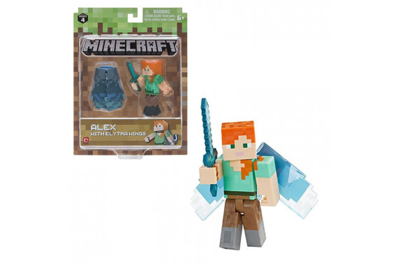 "Фигурка Minecraft ""Алекс с крыльями"" Alex with Elytra Wings (Jazwares)"