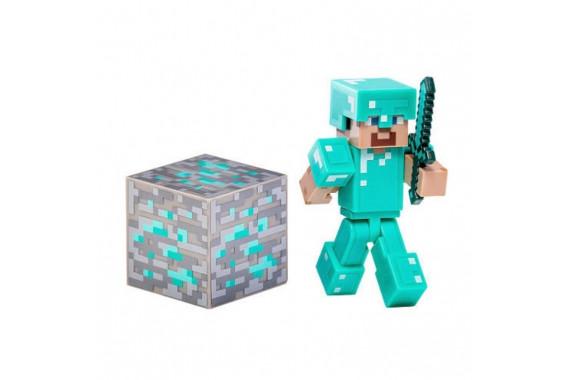 """Фигурка Minecraft """"Стив в алмазной броне"""" Diamond Steve (Jazwares)"""