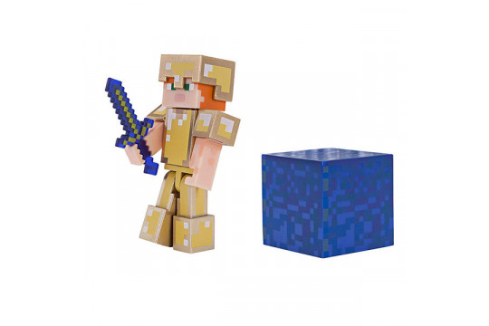 """Фигурка Minecraft """"Алекс в золотой броне"""" Alex in Gold Armor (Jazwares)"""
