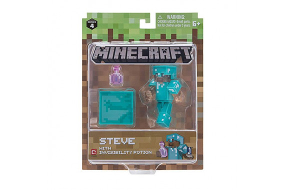 "Фигурка Minecraft ""Стив с зельем невидимости"" Steve with Invisibility Potion (Jazwares)"
