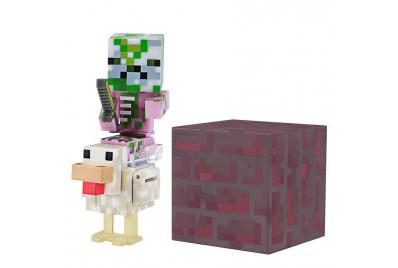 """Фигурка Minecraft """"Детеныш Свинозомби верхом на курице"""" Baby Zombie Pigman Jockey 8см (Jazwares)"""