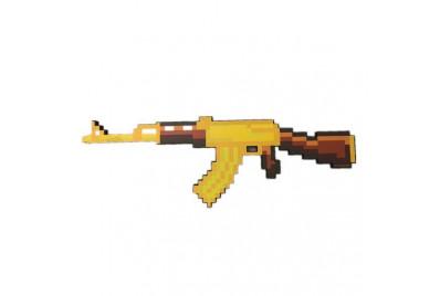 Пиксельный автомат AK47 Майнкрафт 68см (золотой)