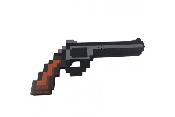"""Пиксельный пистолет """"Магнум"""" Майнкрафт со звуком и светом 29см"""