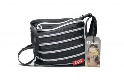 Женская сумка Zipit mini shoulder bag (черная с серебряной молнией)