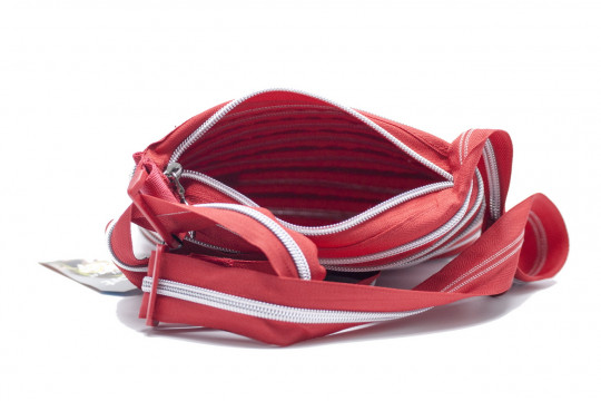 Женская сумка Zipit mini shoulder bag (малиново-красная с серебряной молнией)