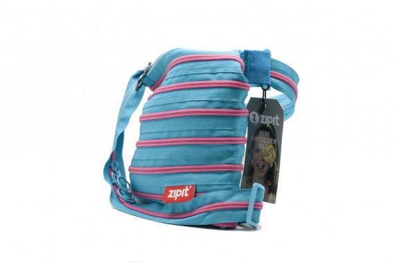 Женская сумка Zipit mini shoulder bag (лазурная с розовой молнией)