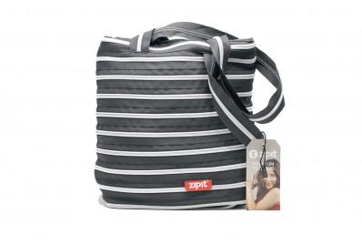 Женская сумка Zipit premium tote bag (черная с серебряной молнией)