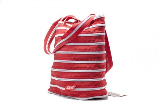 Женская сумка Zipit premium tote bag (малиново-красная с серебряной молнией)