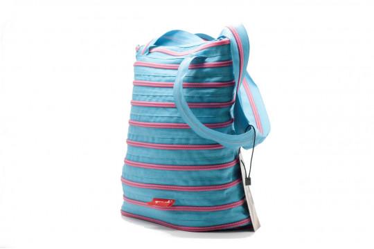 Женская сумка Zipit premium tote bag (лазурная с розовой молнией)