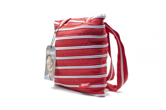 Женская сумка Zipit tote bag (малиново-красная с серебряной молнией)